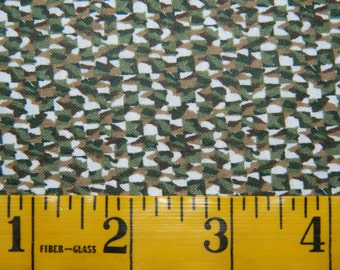 1 Yard Olive Green Brown White Basket Like Weave Cotton Fabric (711E)