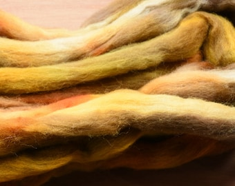 """Hand dyed combed tops (roving)  for felting and spinning - 100gr """"Mr Yellow"""" on multi bases"""