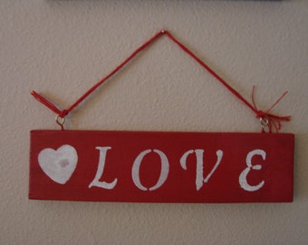 SALE***Red LOVE Wood Sign With A White Heart