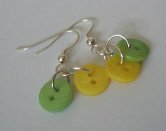 Lemon and Lime Tiny Button Earrings Summer Fresh