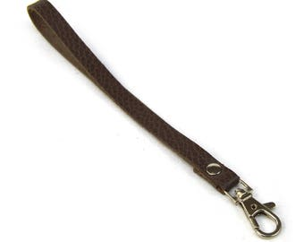 Taupe leather strap with carabiner