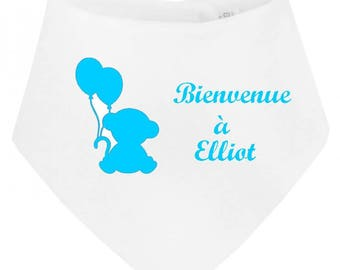 Personalized with name Teddy bear welcome baby bandana bib