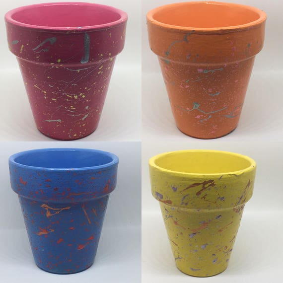 Succulent Splatter Plant Pots, Cactus Plant Pot, Small Planter, Desk Tidy, Herb Planter, 4 Colours Available