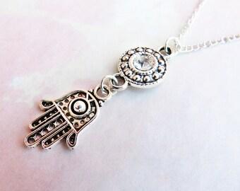 Clear Gemstone Hamsa Necklace, Tibetan Silver Hamsa Choker, Hamsa Jewelry, Hand of Fatima Necklace, Fatima Choker, Dainty Boho Necklace