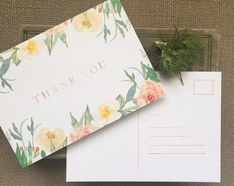Floral Merci cartes postales - paquet de 25