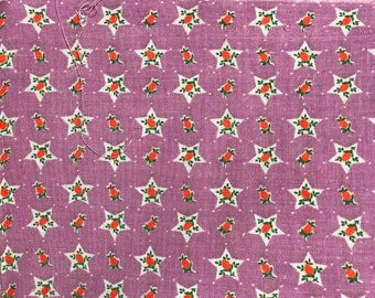 FQ Red Tiny Scale Strawberry Fruit in Star on Lavender Purple Novelty Vintage Feedsack Flour Sack Cotton Quilt Fabric