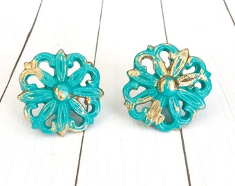 Turquoise Knobs ~ Dresser Drawer Pull ~ Beach Knobs ~ Anthropologie