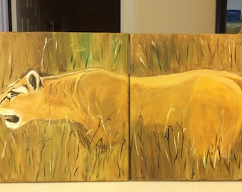 """Lioness on the Prowl - Two 11"""" x 14"""" canvases - acrylic paints - finished on all sides"""