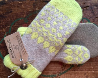 Ladies Upcycled Wool Sweater Mittens