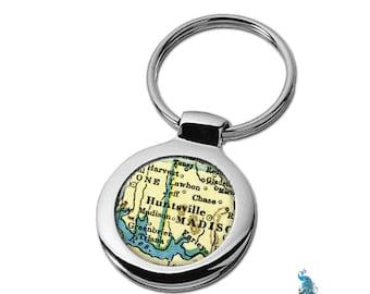 Map Keychain Huntsville Alabama Key Ring Fob