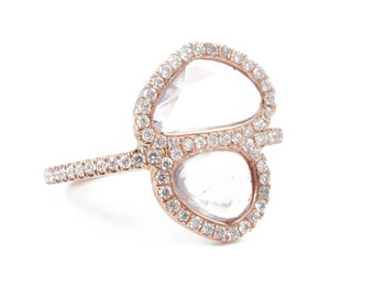 Pink Sapphire Ring, Rose Gold Ring, Engagement Ring, Gold Ring, Pave' Diamonds Ring, Tula Jewelry.