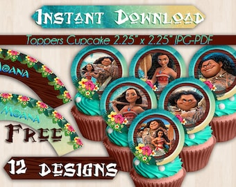 12 Moana Cupcakes Toppers Instant Download, Printable Moana Party Cupcakes Topper, Maui Instant Download, pdf jpg