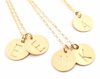 Classic Gold Initial Disc Necklace - 14k Gold Filled Jewelry - Personalized necklace - Gift For Her