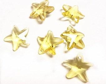 sale-6pc Imitation swarovski crystal starfish shape glass beads-9026h