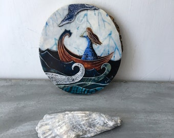 Nautical art, gifts for her, dreamer, ocean adventure, girl in a boat, shellieartist, beach decor, one of a kind Mounted Print, wood slice
