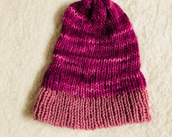 Hot pink beanie with light pink brim