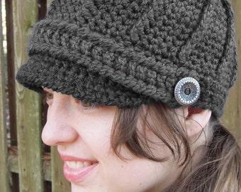 Ribbed Newsboy Hat Crochet Pattern