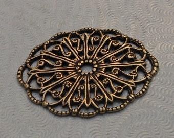 Victorian Style Oxidized Brass Filigree (Qty 1) 29x22mm S-9063-B