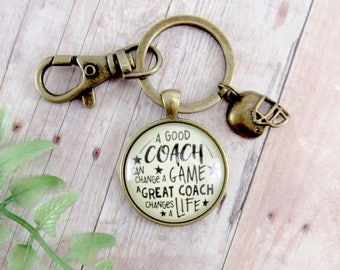 Football Coaching Keychain A Great Coach Changes a Life Bronze Pendant Key Chain