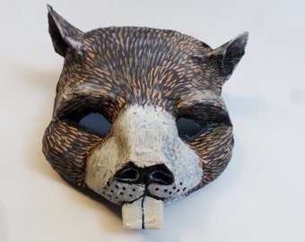 Groundhog Mask, Groundhog Day, Phil, cosplay, wearable, shadow, springtime, animal, woodland creature, paper mache