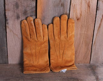 Pair Vintage Brown Suede Leather 1980's Women's Driving Gloves Size M