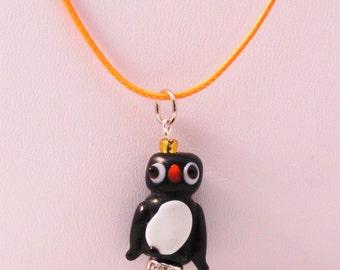 Penguin On Ice Lampwork Glass Pendant