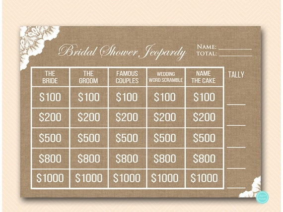 Burlap and lace jeopardy bridal shower who knows the bride solutioingenieria Images