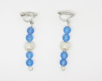 SILVER METAL AND AGATE EARRINGS