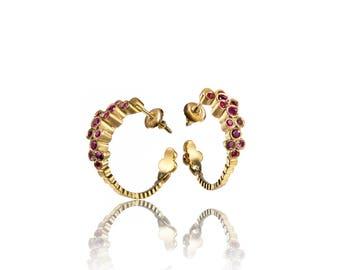 Ruby Earrings, Unique Earrings, Geometric Earrings, Gold Earrings, Solid Gold Earrings, Elegant Earrings, Hoop Earrings, Post Earrings