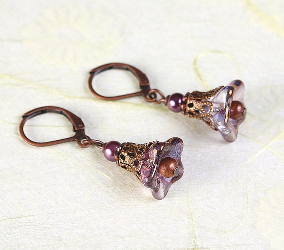 Copper amethyst glass trumpet bell flower and antique copper earrings READY to ship (422)