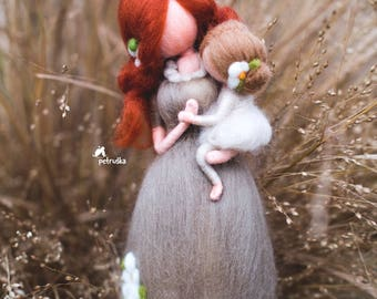 Mother Daughter Figurine - Needle Felted Doll - Mother's Day Gift - Felted Wool Dolls - Baby Shower Gift - Soft Sculpted Doll - Gift for Mom
