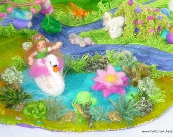 Lotties Utopian Fairyland Playscape©  45x60cm. Rainbow Bridge, Unicorn,Fairies, swan, bunnies,mice,Fairy Home,blossom tree,sparkling stream.