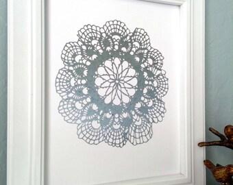 Lace print handmade foil print; turquoise foil; mint green foil; gold foil; silver foil; elegant art; home decor; faux-foil print