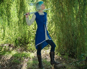 Fantasy surcoat Elven tunic LARP Medieval surcoat Medieval tunic elven cothing medieval garb Renaissance overdress Elven wedding lacing