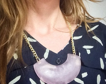 Minimal and Modern Resin Necklace with Gold Chain. Bold and Geometric Jewelry.
