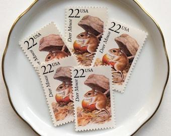 5 Unused Vintage Postage Stamps USPS // North American Wildlife, Deer Mouse // 22 cents // 1987