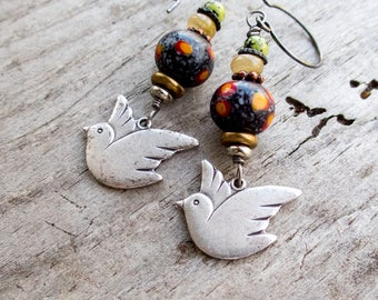 Come fly with me || Pewter Doves | Vintage Indonesian Lampwork Glass | Carnelian | Earthy and Organic | Nature Lover Jewelry Under 25