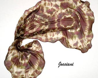 Earth Tones Scarf, Unique Shibori, Tie Dye Wrap, Hand Dyed, Brown Champagne, Beige Skin Cognac Sangria, Jossiani Creation, 100% Silk Chiffon