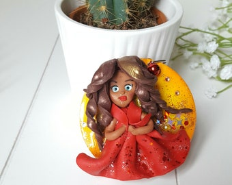 Wooden stand, decorative resin figurine polymer clay, jewelry bags, doll polymer clay, wood and resin, resin, women gift, Aquastella Creation