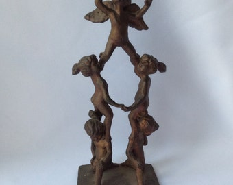 Bronze Cherub Sculpture,Signed by Phillip Lewis Lewandowski, Angel Pyramid Sculpture