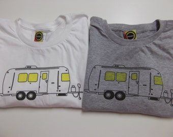 Airstream Graphic T shirt.  Screen printed by hand in Atlanta on 100% ring-spun cotton shirt. Heather Gray and White.