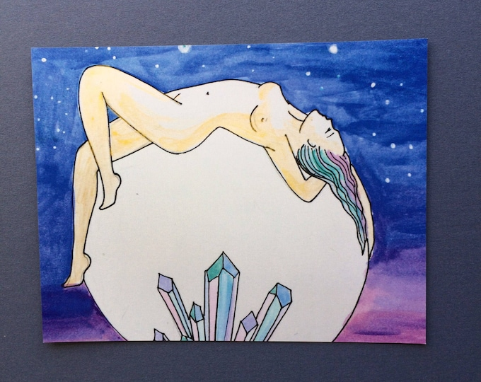 "MOONING Magnet/ 4"" x 5""/ Fridge magnet/ full moon/ moon art/ crystal art/"