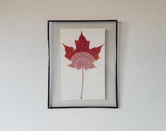 Framed Red Maple Leaf Mandala 2 (Medium)