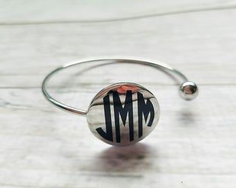 Ball Wrap Disc Bracelet, Monogram Bracelet, Personalized Bracelet, Monogrammed Bracelet, Wedding Favor, Bridesmaid Gift, Flower Girl Gift
