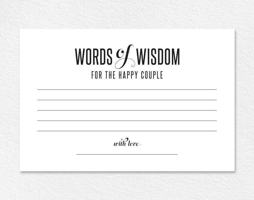 Words Of Wisdom Card Wedding Advice Card Advice Printable