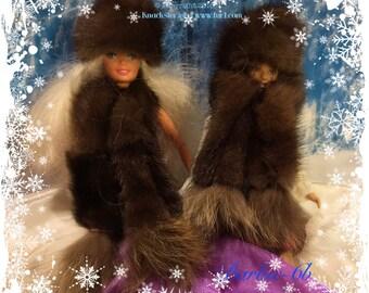 BARBIE-6 Genuine Real Ranch Brown Mink Barbie Fashion Doll Fur Hat & Scarf Boa