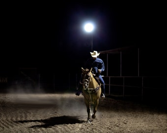 Rodeo Cowboy Western Art Photography Lonesome Horse and Rider Night Photography Texas Dramatic Romantic Rider