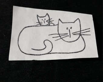 Mama Cat and Kitten Used Rubber stamp View all Photos