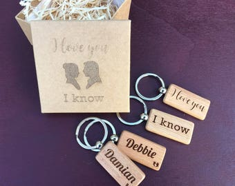 Personalised 2 x Wooden Keyrings - I Love You / I Know Star wars Gift Box 5th Anniversary