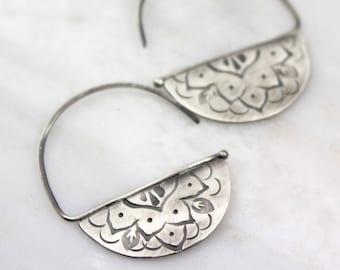 Stamped Mandala Blade Style Hoop Earrings Oxidized Silver